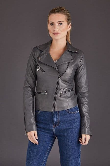 Grey Leather Jacket Womens:Anna